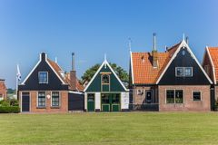 Traditional dutch houses in Oudeschild. On Texel island, Holland royalty free stock photo