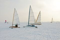 Traditional dutch: Ice sailing in the Netherlands. Traditional dutch: Ice sailing on a cold winter day on the Gouwzee in the Netherlands Stock Image