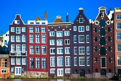 Traditional dutch medieval buildings in Amsterdam Royalty Free Stock Photos