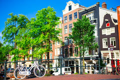 Traditional dutch medieval houses in Amsterdam, Netherlands Royalty Free Stock Images