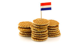 Traditional Dutch mini waffles with flag toothpick royalty free stock photos