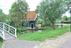 Traditional Dutch old house building in Zaanse Schans - museum v Stock Photography