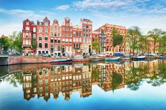 Traditional Dutch old houses on canals in Amsterdam,  Netherland Stock Photography