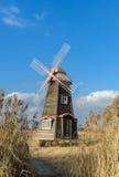Traditional Dutch old wooden windmill in Zaanse Schans - museum Stock Photos