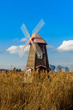 Traditional Dutch old wooden windmill in Zaanse Schans - museum Stock Images
