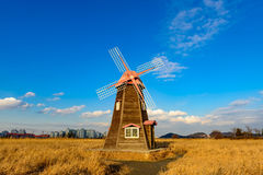 Traditional Dutch old wooden windmill in Zaanse Schans - museum royalty free stock images