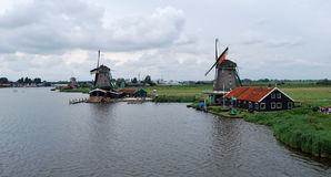 Traditional Dutch old wooden windmill in Zaanse Schans - museum Royalty Free Stock Photos