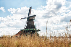 Traditional Dutch old wooden Windmills in Zaanse Schans - museum Stock Photography
