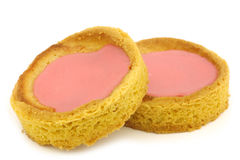 Traditional Dutch pink glazed cakes Stock Photos