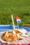 Traditional Dutch poffertjes Stock Image