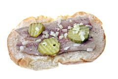 Traditional dutch sandwich. With herring, onions and pickles Stock Images