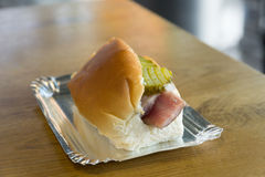 Traditional Dutch sandwich with marinated herring and cucumbers Foto de archivo libre de regalías