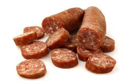 Traditional Dutch smoked and dried  sausages Stock Photography
