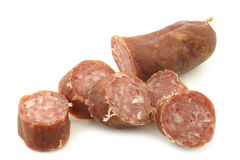 Traditional Dutch smoked and dried sausages Stock Images