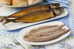 Traditional dutch smoked mackerels Stock Photo