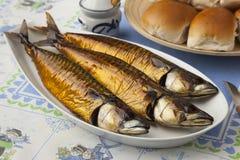 Traditional dutch smoked mackerels Stock Photos