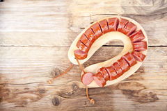 Traditional Dutch smoked sausage called Rookworst Stock Image