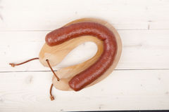 Traditional Dutch smoked sausage called Rookworst Royalty Free Stock Images