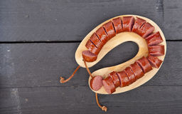 Traditional Dutch smoked sausage called Rookworst Royalty Free Stock Photo