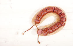 Traditional Dutch smoked sausage called Rookworst Royalty Free Stock Photos