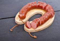 Traditional Dutch smoked sausage called Rookworst Stock Photos