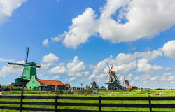 Traditional Dutch windmill houses Royalty Free Stock Images