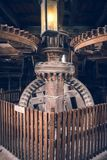 Traditional Dutch windmill interior. Wooden mechanisms Royalty Free Stock Photography