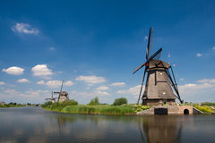Traditional dutch windmill in Kinderdijk Stock Images