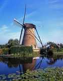 Traditional Dutch windmill, Kinderdijk, Holland. Royalty Free Stock Photo