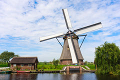 Traditional Dutch Windmill With Its House Stock Photography