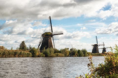 Traditional dutch windmills Stock Images