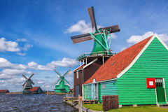 Traditional Dutch windmills with canal close the Amsterdam, Holland Royalty Free Stock Photography