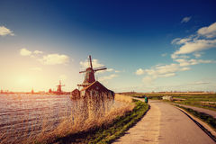 Traditional Dutch windmills from the channel Rotterdam. Holland Stock Photo