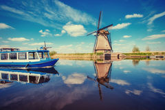 Traditional Dutch windmills from the channel Rotterdam. Holland Stock Photography