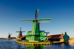 Traditional Dutch windmills from the channel Rotterdam. Holland Royalty Free Stock Image