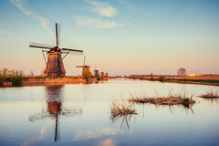 Traditional Dutch windmills from the channel Rotterdam. Holland Stock Images