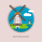 Traditional Dutch windmills with landscape and clouds. The Netherlands symbol. Round icon in flat style Vector Illustration