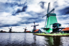 Traditional dutch windmills, Netherlands Stock Photo