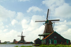 Traditional dutch windmills Stock Photo