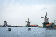 Traditional dutch windmills. In traditional village Stock Photography