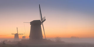 Traditional Dutch windmills in winter at sunrise Royalty Free Stock Image
