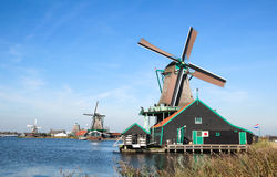 Traditional Dutch windmills in Zaanse Schans, The Netherlands Royalty Free Stock Image