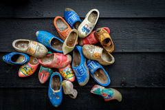 Traditional dutch wooden shoes. Mounted on a wall Royalty Free Stock Photo