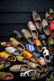 Traditional dutch wooden shoes. Mounted on a wall Royalty Free Stock Images