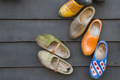 Traditional dutch wooden shoes Stock Photos
