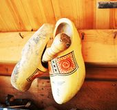 Traditional dutch wooden shoes Royalty Free Stock Images