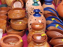 Traditional earthenware. Beautiful earthenware on sale in Omodos village, Cyprus Stock Photos