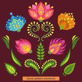 Traditional east european ornament elements. Colorful flowers and leaves on dark background Stock Image