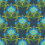 Traditional east european ornament. Floral vector seamless pattern. Blue flowers on dark background Royalty Free Stock Images