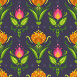 Traditional east european ornament. Floral vector seamless pattern. Bright flowers on darke background Stock Photo